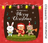 christmas card with cute... | Shutterstock .eps vector #519999313
