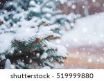 frosty winter landscape in... | Shutterstock . vector #519999880