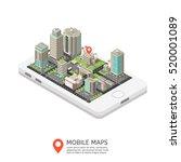 mobile maps isometric design... | Shutterstock .eps vector #520001089