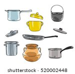 pots set.art vintage pot vector ... | Shutterstock .eps vector #520002448
