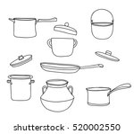 pots set.art vintage pot vector ... | Shutterstock .eps vector #520002550
