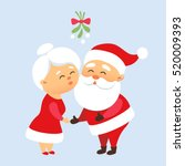 santa claus kiss his wife mrs.... | Shutterstock .eps vector #520009393