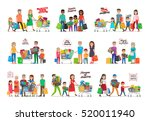 collection of icons with family.... | Shutterstock .eps vector #520011940