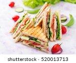 club sandwich with chicken...   Shutterstock . vector #520013713