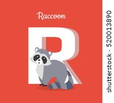 raccoon with letter r isolated... | Shutterstock .eps vector #520013890