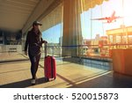 traveling woman and luggage... | Shutterstock . vector #520015873