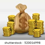 money bag with gold coins... | Shutterstock .eps vector #520016998