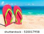 beautiful beach. beach sandals...   Shutterstock . vector #520017958