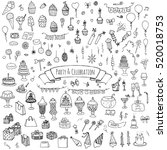 hand drawn doodle party and... | Shutterstock .eps vector #520018753