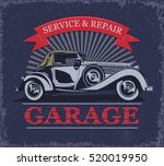 vintage car garage label. | Shutterstock .eps vector #520019950