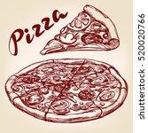 italian pizza set hand drawn... | Shutterstock .eps vector #520020766
