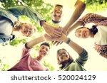 diverse teens hands together... | Shutterstock . vector #520024129