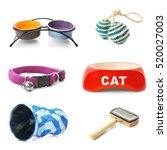 different cats accessories on... | Shutterstock . vector #520027003