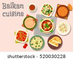 balkan cuisine dinner icon with ...