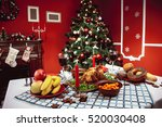 christmas dinner by candlelight ... | Shutterstock . vector #520030408