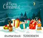 christmas gift box with xmas... | Shutterstock .eps vector #520030654