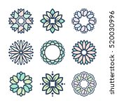 vector flowers in thin line... | Shutterstock .eps vector #520030996