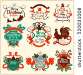 christmas and new year vintage... | Shutterstock .eps vector #520031008
