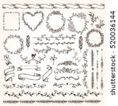 set of doodle elements. flora ... | Shutterstock .eps vector #520036144
