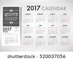 2017 calendar planner design.... | Shutterstock .eps vector #520037056
