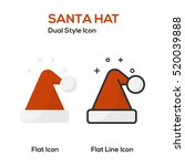 santa hat flat icon and flat...   Shutterstock .eps vector #520039888