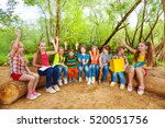 cute kids reading books outdoor ... | Shutterstock . vector #520051756