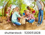 happy kids playing with wooden...   Shutterstock . vector #520051828