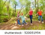 happy kids walking in the park... | Shutterstock . vector #520051954