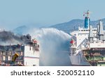 Burning Ship And Fire Fighting...