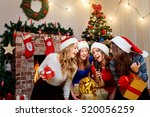 friends sing karaoke at... | Shutterstock . vector #520056259