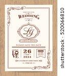 classic vintage wedding... | Shutterstock .eps vector #520066810