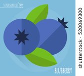 blueberry.  long shadow flat... | Shutterstock .eps vector #520069300