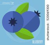 blueberry.  long shadow flat... | Shutterstock .eps vector #520069300