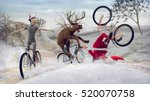 Funny Santa Claus On Bicycle...