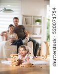 cheerful family at home  a... | Shutterstock . vector #520071754