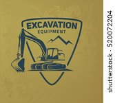 excavator logo on grunge... | Shutterstock .eps vector #520072204
