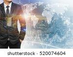 double exposure of businessman...   Shutterstock . vector #520074604
