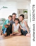 at home  cheerful family  dad ... | Shutterstock . vector #520074778