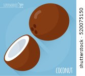 coconut.  long shadow flat... | Shutterstock .eps vector #520075150