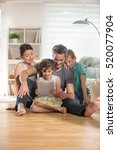 at home  cheerful family  dad ... | Shutterstock . vector #520077904