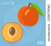 peach.  long shadow flat design ... | Shutterstock .eps vector #520079560