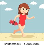 female lifeguard running to... | Shutterstock .eps vector #520086088