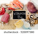 natural sources of vitamin b12  ... | Shutterstock . vector #520097380