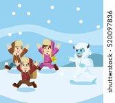 group of arctic exploler chased ...   Shutterstock . vector #520097836