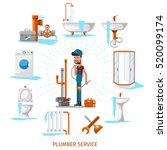 plumber or maintenance engineer ... | Shutterstock .eps vector #520099174