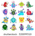 scary monster vector. set of... | Shutterstock .eps vector #520099510