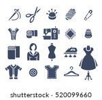sewing icons flat silhouettes... | Shutterstock . vector #520099660