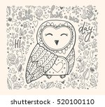 cute owl  floral pattern. hello ... | Shutterstock .eps vector #520100110