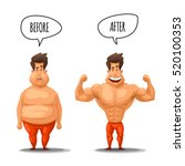 weight loss. man before and... | Shutterstock .eps vector #520100353