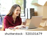 beautiful freelance worker... | Shutterstock . vector #520101679